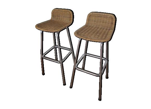 paire de tabourets de bar roh rotin et osier bois couleur bon tat design. Black Bedroom Furniture Sets. Home Design Ideas