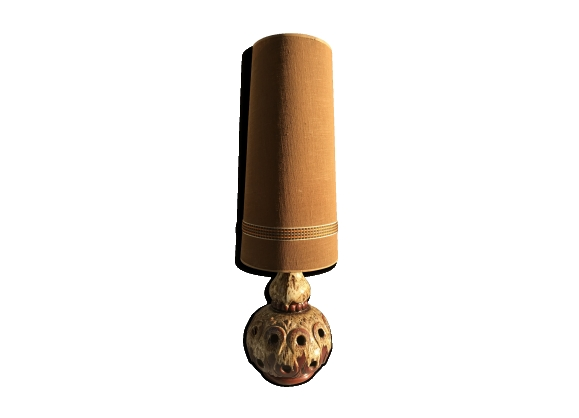Lampe sur pied céramique marron beige germany années 70