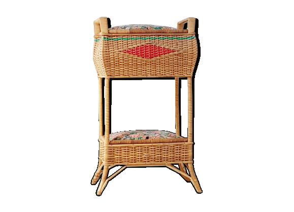 travailleuse bo te couture double rangement 1950 vintage en osier rotin et osier marron. Black Bedroom Furniture Sets. Home Design Ideas