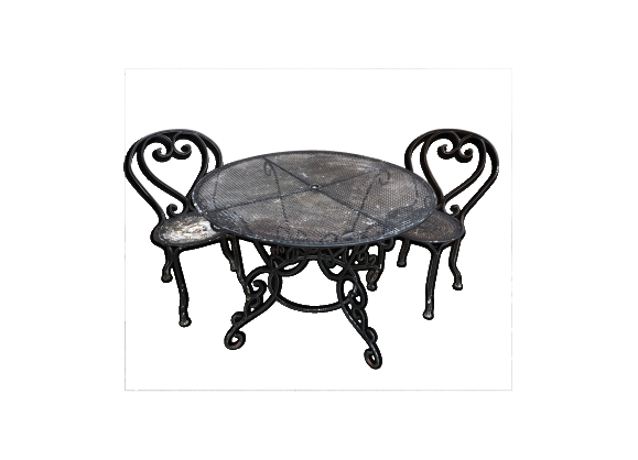 Salon de jardin table en fer ronde