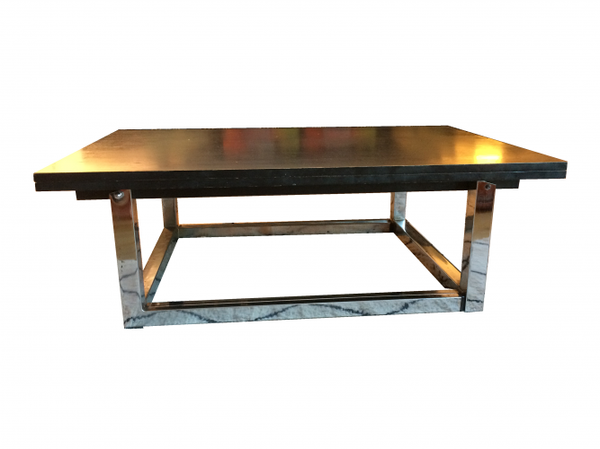 Table basse convertible d but 80 39 s bois mat riau for Table basse convertible