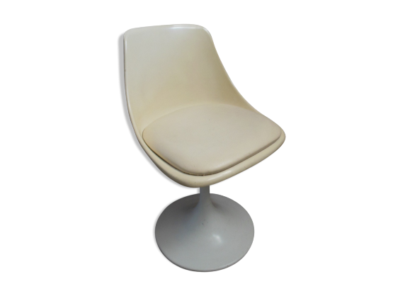 chaise pied tulipe ann e 60 fonte blanc dans son jus vintage. Black Bedroom Furniture Sets. Home Design Ideas