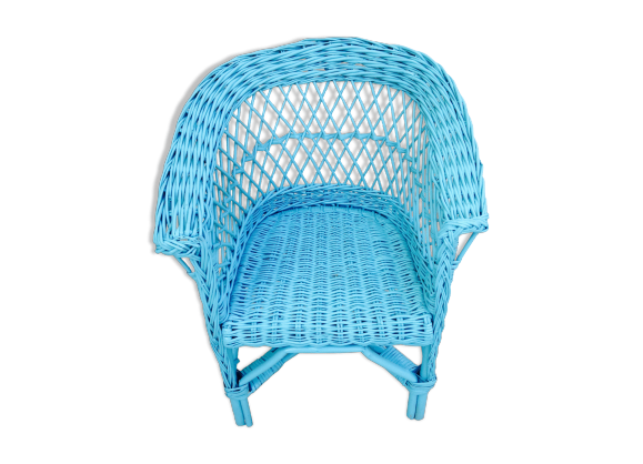 fauteuil enfant en osier bleu ann es 60 rotin et osier. Black Bedroom Furniture Sets. Home Design Ideas