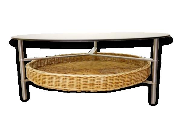 Mid Century table ronde avec verre bleu de fumée