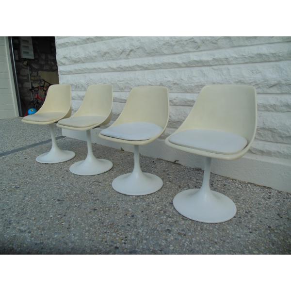 Lot de chaises vintage ann e 60 pied tulipe fonte blanc dans son jus - Chaise tulipe a vendre ...