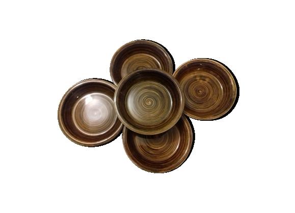 Set de 5 assiettes marron paimpol