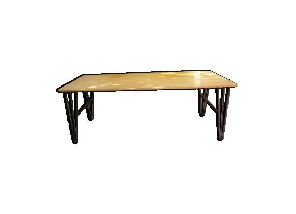 Table basse bois pieds métal années 60