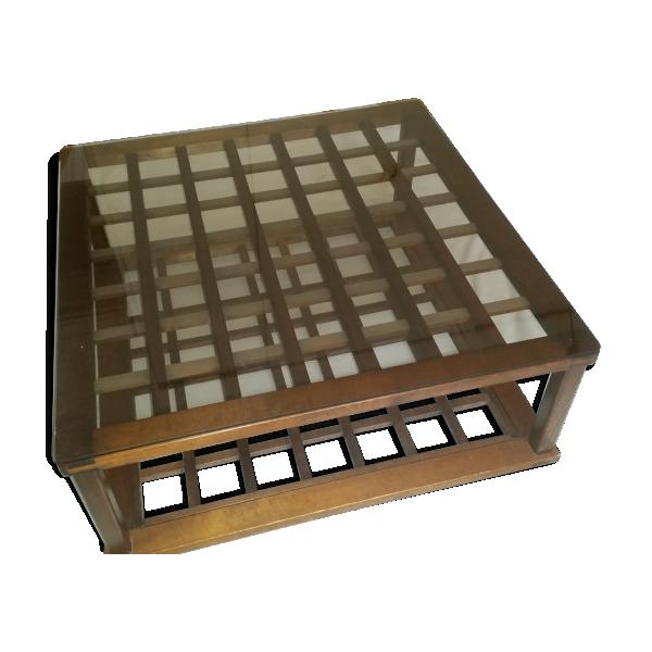 table basse forme kotatsu japonais bois mat riau marron bon tat thnique. Black Bedroom Furniture Sets. Home Design Ideas