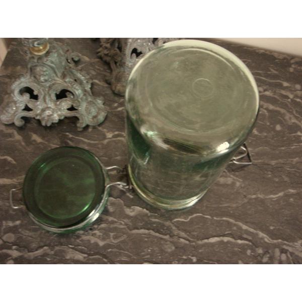Bocal ancien vert verre couvercle fermeture m tal d co collection cuisi - Console verre transparent ...