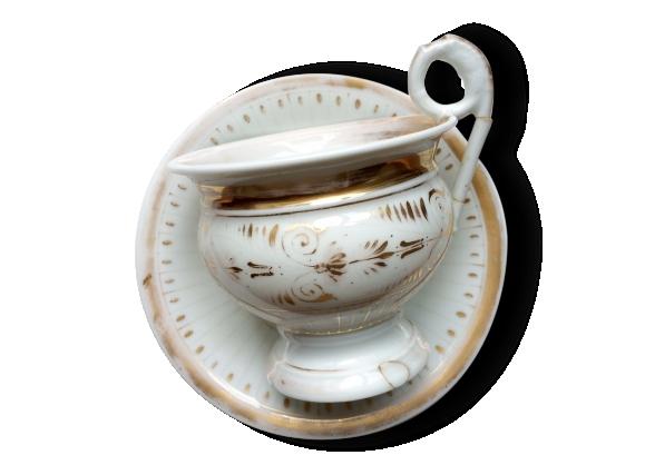 Grande tasse ancienne et sa soucoupe en porcelaine de paris, xixème