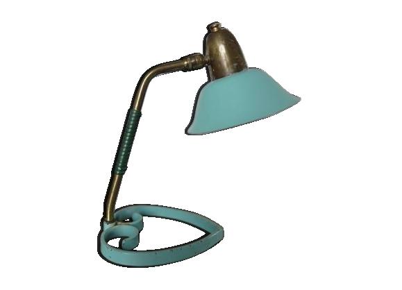 Lampe à rotule laiton métal laqué vert pale années 50/60