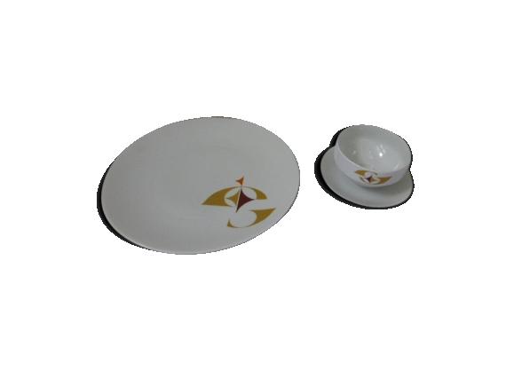 Plat à gâteaux et saucière en porcelaine blanche Schirnding Bavaria 1970