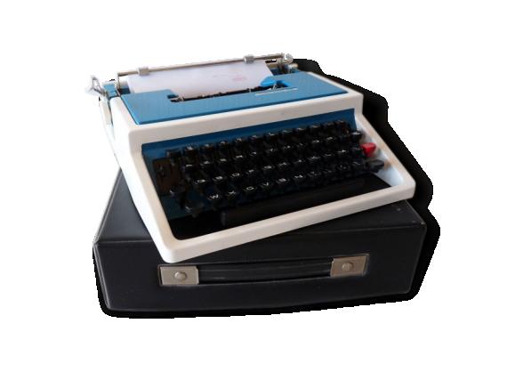 Machine à écrire Underwood 315 portative bleue avec son étui de transport / Typewriter blue / Années 70 , Made in Spain.