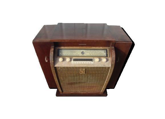 Meuble ancien Radio TSF en bois marque La Voix de son Maitre des années 50