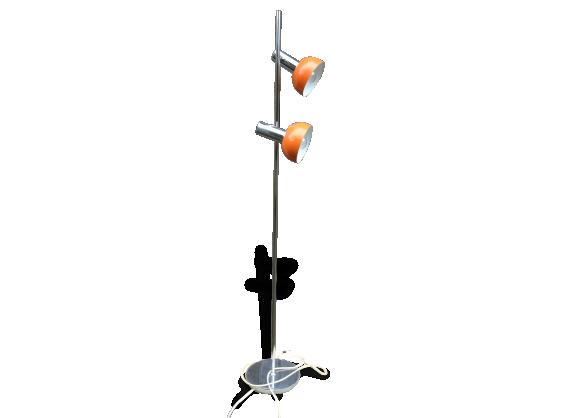 Lampadaire en métal chromé 2 spots lumineux orange années 70