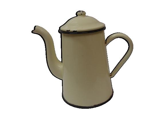 Cafetière en métal, tôle émaillée de 1940/1950 jaune