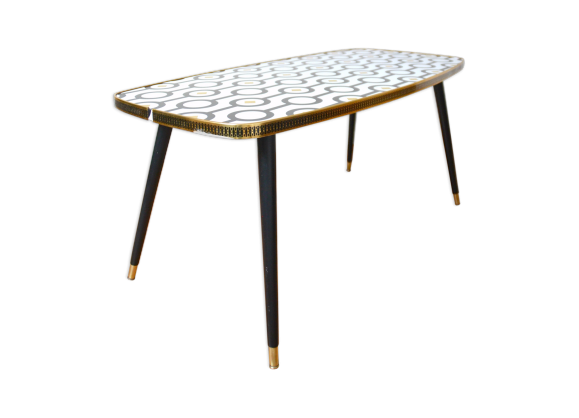 table basse pieds compas bois mat riau noir bon tat vintage. Black Bedroom Furniture Sets. Home Design Ideas