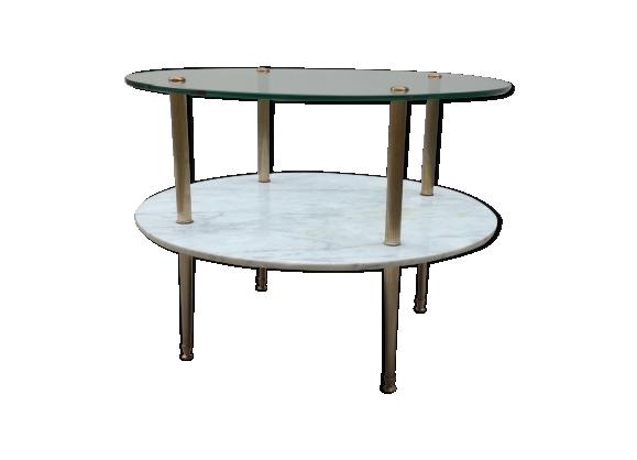 Table basse ronde en marbre et verre