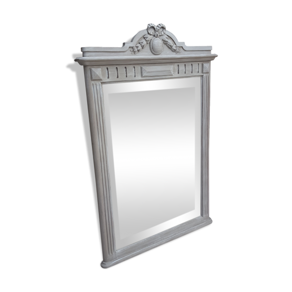 Miroir chemin e ou trumeau patin taupe et blanc bois for Miroir trumeau blanc
