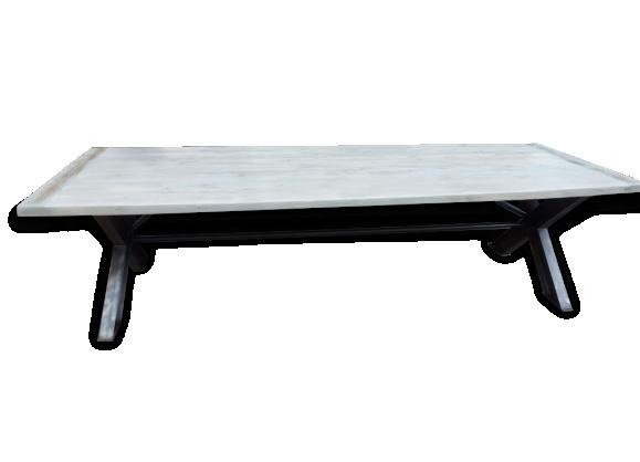 Grande table industrielle x vieux plateau grisé de 3m salle à manger cuisine