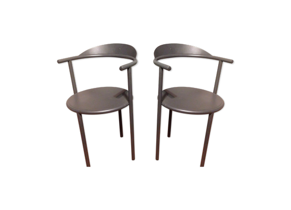 paire de de chaises en m tal par philippe starck pour id e japon m tal noir bon tat. Black Bedroom Furniture Sets. Home Design Ideas