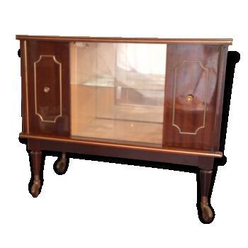 enfilade bar bois laqu pieds compas roulettes ann e 50 vintage bois mat riau marron. Black Bedroom Furniture Sets. Home Design Ideas