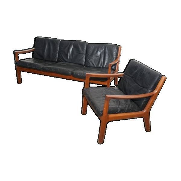 canap noir en cuir 3 places et en teck par ole wanscher pour france s n cuir noir bon. Black Bedroom Furniture Sets. Home Design Ideas