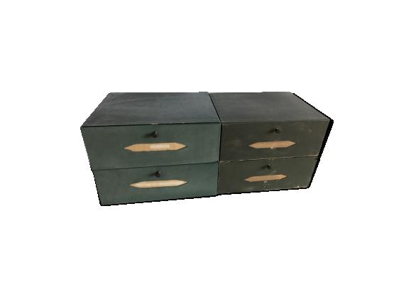 Lot de 4 anciens casiers de meuble de notaire papier for Bureau meuble notaire