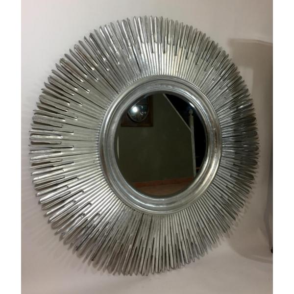 Miroir argent en bois ann e 70 bois mat riau argent for Miroir annee 70