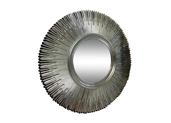 Miroir argent en bois ann e 70 bois mat riau argent for Miroir argente