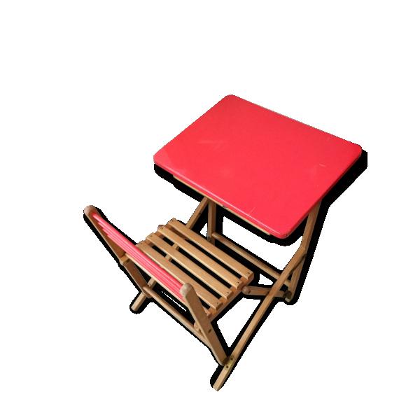 pupitre d 39 enfant pliant table d 39 colier bois mat riau rose bon tat vintage 157356. Black Bedroom Furniture Sets. Home Design Ideas