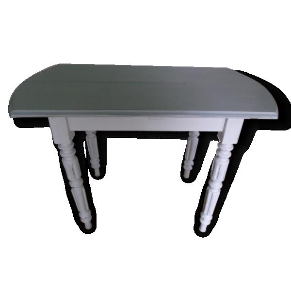 Table console ancienne patin e bois mat riau blanc - Table console ancienne ...