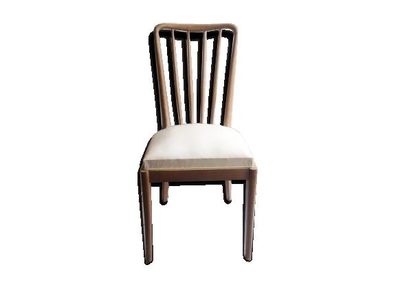 Chaise ann es 50 bois mat riau blanc bon tat for Chaise annee 90