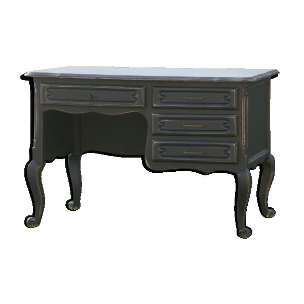 bureau revisit style baroque noir patin bois mat riau noir bon tat classique. Black Bedroom Furniture Sets. Home Design Ideas