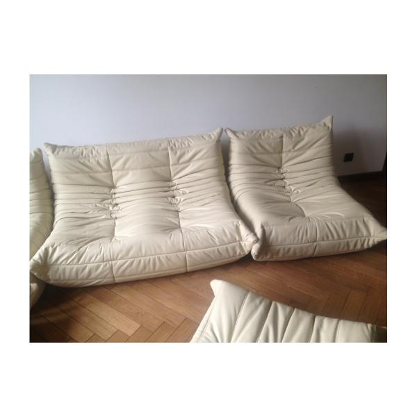 canap vintage togo beige en cuir par michel ducaroy pour ligne roset 1974 cuir beige. Black Bedroom Furniture Sets. Home Design Ideas