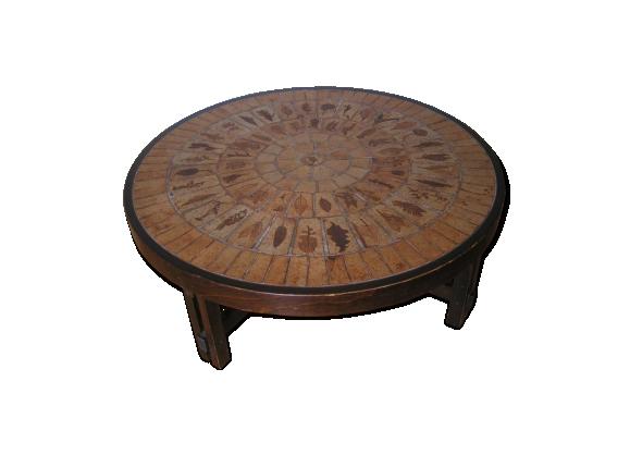 Table basse ronde signée Roger Capron Vallauris - modèle herbier