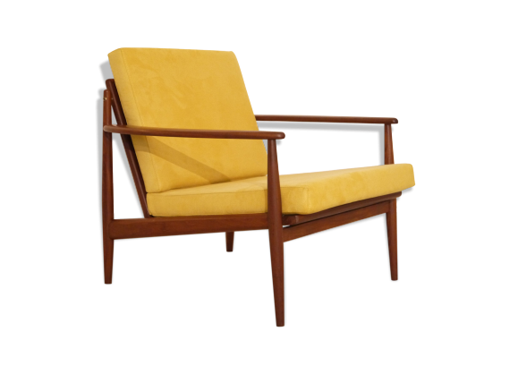 fauteuil vintage scandinave en teck moutarde teck jaune bon tat design. Black Bedroom Furniture Sets. Home Design Ideas