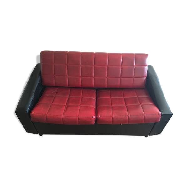 canap en ska ann es 50 60 rouge et noir convertible ska rouge dans son jus vintage. Black Bedroom Furniture Sets. Home Design Ideas
