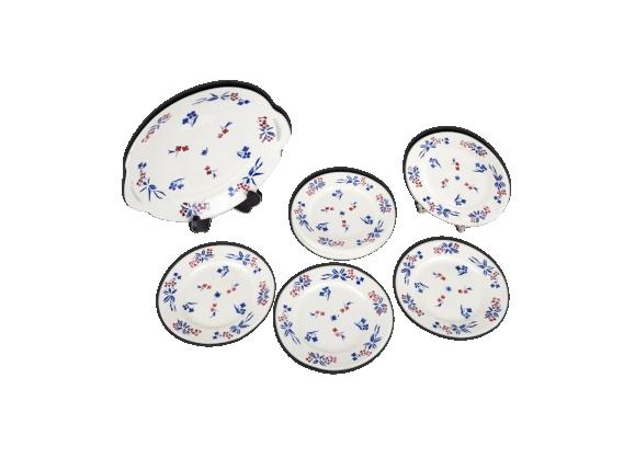 Service gâteaux 10 assiettes à desserts + plat badonviller f. décor petites fleurs