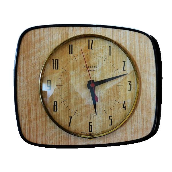 horloge pendule formica vedette formica bois couleur dans son jus vintage. Black Bedroom Furniture Sets. Home Design Ideas