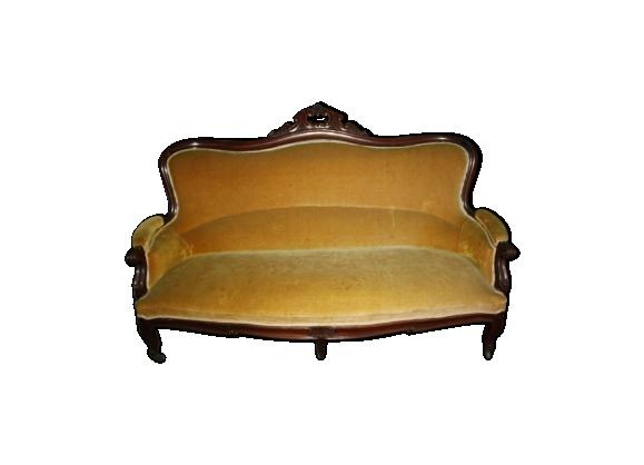 Banquette canapé en acajou sur roulettes de style Louis XV