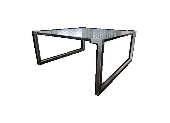 Table basse vintage en acier et verre par Peter Ghyczy 1970s