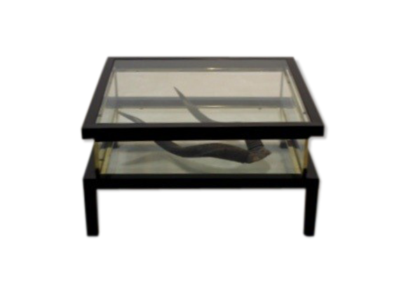 table basse romeo rega verre et cristal transparent bon tat art d co. Black Bedroom Furniture Sets. Home Design Ideas