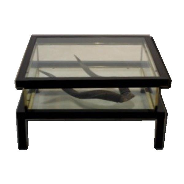 Table basse romeo rega verre et cristal transparent bon tat art d co - Tabouret bar transparent ...