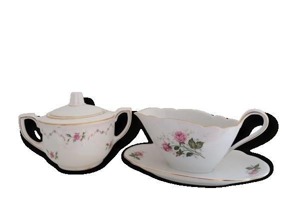 Ancien pot à lait et sucrier en porcelaine