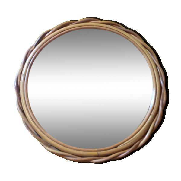 Miroir rond tress en rotin rotin et osier bois for Miroir rond en rotin