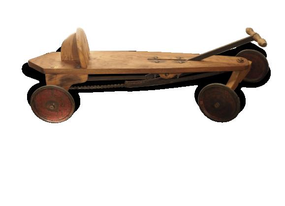 ancien jouet cyclo rameur auto skiff enfant bois mat riau bois couleur bon tat. Black Bedroom Furniture Sets. Home Design Ideas