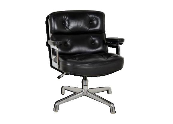 Fauteuil 'Lobby Chair' en cuir noir par Charles & Ray Eames pour Herman Miller Datant des années 60