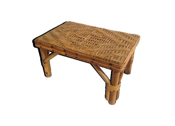 table d 39 appoint en rotin tress vintage ann es 60 rotin et osier marron bon tat vintage. Black Bedroom Furniture Sets. Home Design Ideas