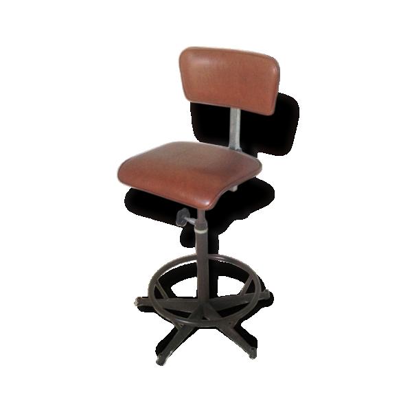 Chaise haute architecte m tal marron dans son jus industriel 33417 - Chaise haute industriel ...